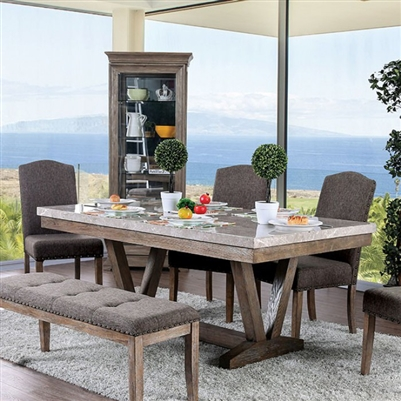 Bridgen 7 Piece Dining Room Set in Natural Finish by Furniture of America - FOA-CM3429T