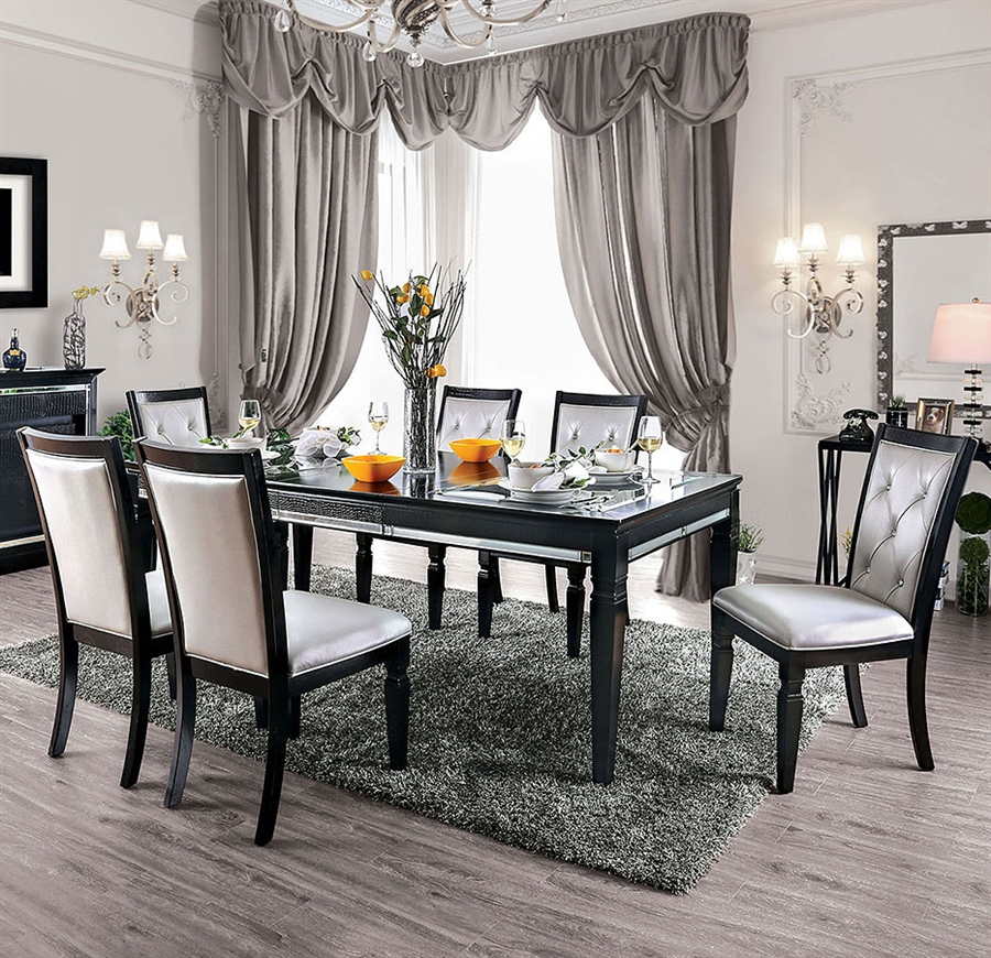 Dining Room Set In Black Silver Finish