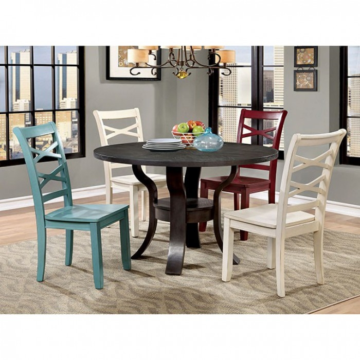 Outstanding Gisela 5 Piece Round Table Dining Room Set With Red And Blue Chairs By Furniture Of America Foa Cm3518Rt Rb Alphanode Cool Chair Designs And Ideas Alphanodeonline