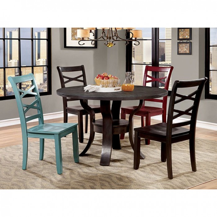 Gisela 5 Piece Round Table Dining Room Set with Red and Blue Chairs by  Furniture of America - FOA-CM3518RT-RB