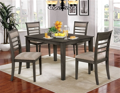 Fafnir 5 Piece Dining Room Set in Weathered Gray/Beige Finish by Furniture of America - FOA-CM3607T-5PK