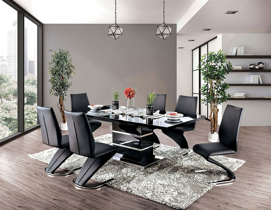 Midvale 7 Piece Dining Room Set In Black Chrome Finish By Furniture Of America Foa Cm3650bk