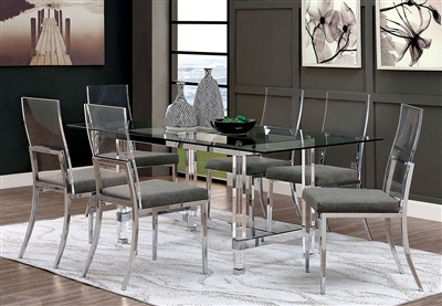 Casper 7 Piece Dining Room Set in Chrome Finish by Furniture of America - FOA-CM3654