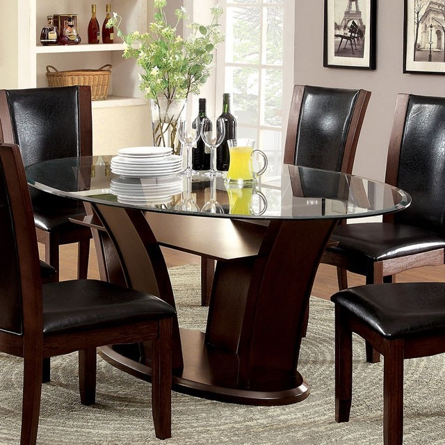 Manhattan I 7 Piece Oval Table Dining Room Set By Furniture Of America Foa Larger Photo