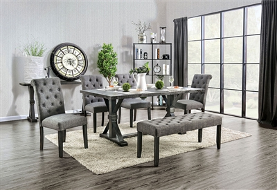 Alfred 7 Piece Dining Room Set with Gray Chairs by Furniture of America - FOA-CM3735-CM3735GY