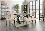 Alfred 7 Piece Dining Room Set with Ivory Chairs by Furniture of America - FOA-CM3735-CM3735IV