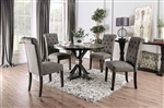 Alfred 5 Piece Round Table Dining Room Set with Gray Chairs by Furniture of America - FOA-CM3735-R-CM3735GY