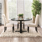 Alfred 5 Piece Round Table Dining Room Set with Ivory Chairs by Furniture of America - FOA-CM3735-R-CM3735IV