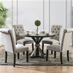 Alfred 5 Piece Round Table Dining Room Set with Light Gray Chairs by Furniture of America - FOA-CM3735-R-CM3735LG