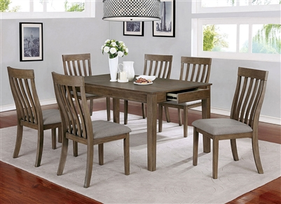Astilbe 7 Piece Dining Room Set in Light Oak Finish by Furniture of America - FOA-CM3739