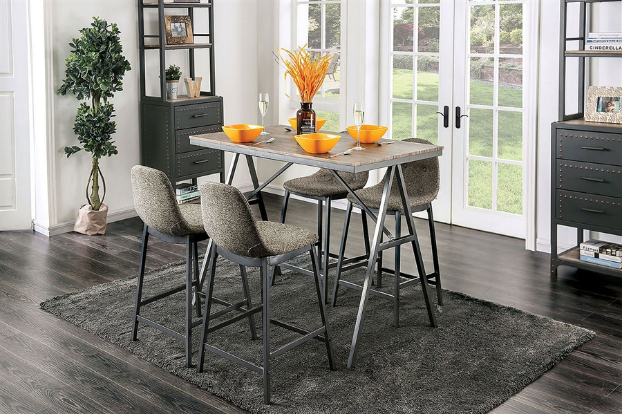 Brant 5 Piece Counter Height Dining Set In Gray Finish By Furniture Of America Foa Cm3740pt
