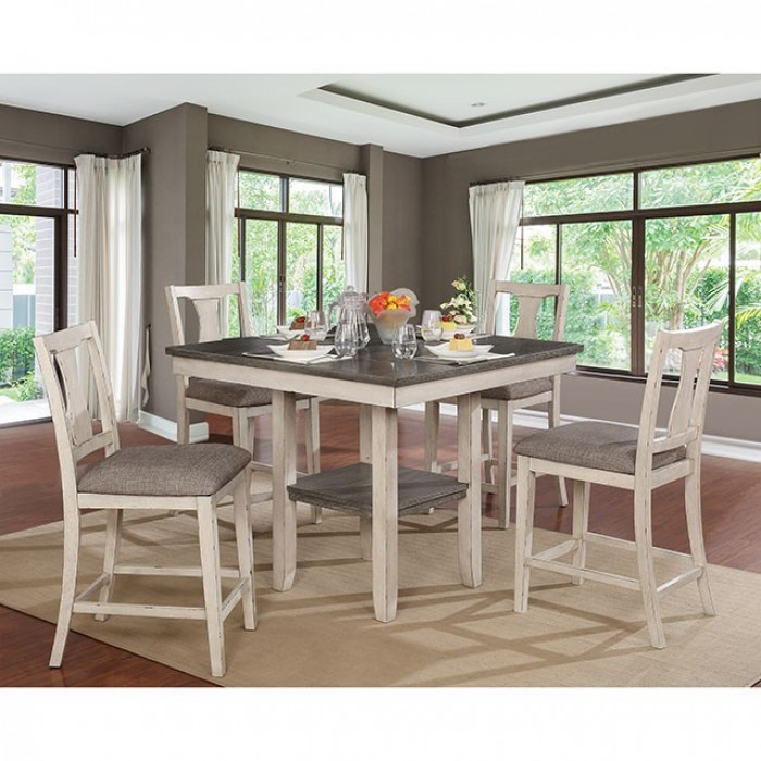 Ann II 5 Piece Dining Room Set in Antique White/Gray Finish by Furniture of  America - FOA-CM3752PT-5PK