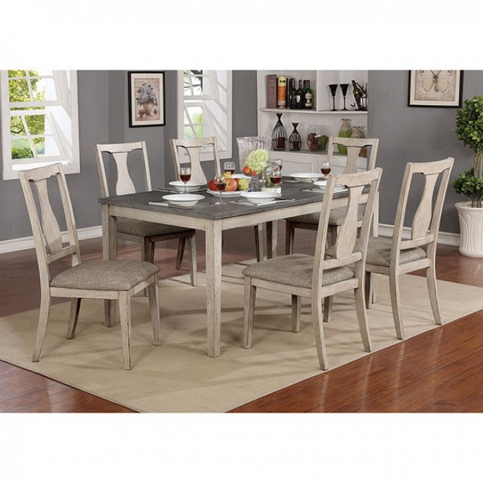 Ann 7 Piece Dining Room Set in Antique White/Gray Finish by Furniture of  America - FOA-CM3752T-7PK