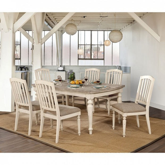 Summer 7 Piece Dining Room Set in Antique White/Gray Finish by Furniture of  America - FOA-CM3753T