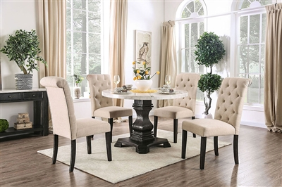 Elfredo 5 Piece Round Table Dining Room Set with Ivory Chairs by Furniture of America - FOA-CM3755-R-CM3735IV