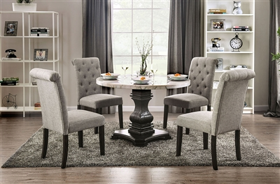 Elfredo 5 Piece Round Table Dining Room Set with Light Gray Chairs by Furniture of America - FOA-CM3755-R-CM3735LG