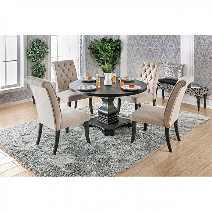 Nerissa 5 Piece Round Table Dining Room Set by Furniture of America - FOA-CM3840RT  sc 1 st  Home Cinema Center & Nerissa 5 Piece Round Table Dining Room Set by Furniture of America ...