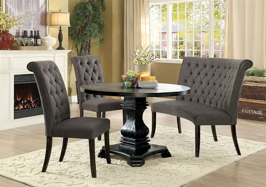 Nerissa 4 Piece Round Dining Room Set with Gray Chair and Bench by  Furniture of America - FOA-CM3840RT-GRAY