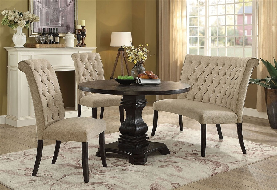 Nerissa 4 Piece Round Dining Room Set with Ivory Chair and Bench by  Furniture of America - FOA-CM3840RT-IVORY