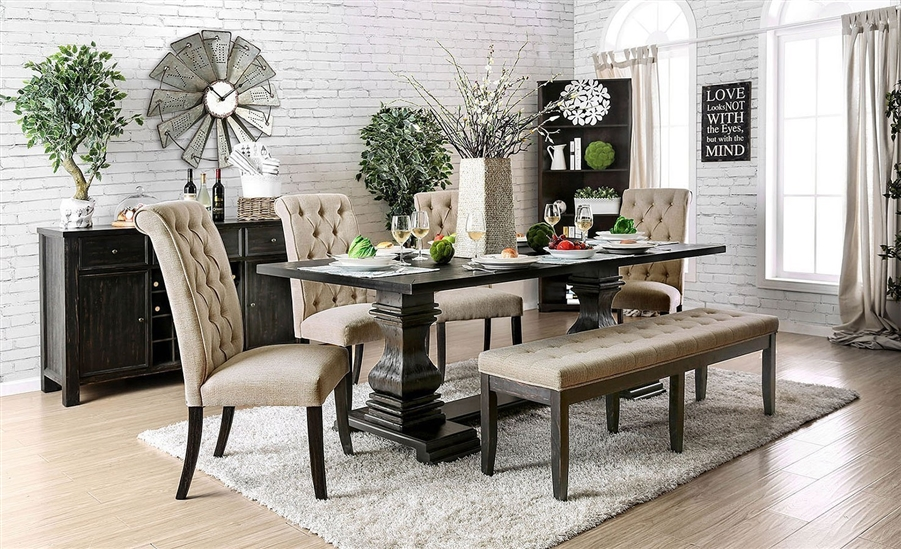 Nerissa 7 Piece Dining Room Set in Antique Black Finish by Furniture of  America - FOA-CM3840T-CM3564SC