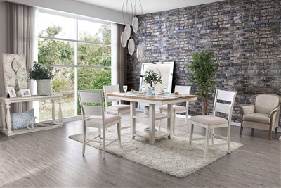 Brigid II 5 Piece Counter Height Dining Set in White Finish by Furniture of America - FOA-CM3858PT