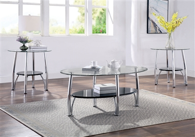Dorthe 3 Piece Occasional Table Set in Black by Furniture of America - FOA-CM4113-3PK