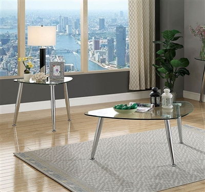 Delany 2 Piece Occasional Table Set in Chrome by Furniture of America - FOA-CM4156-2PK