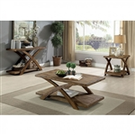 Bryanna 3 Piece Occasional Table Set in Antique Light Oak by Furniture of America - FOA-CM4178-3PK