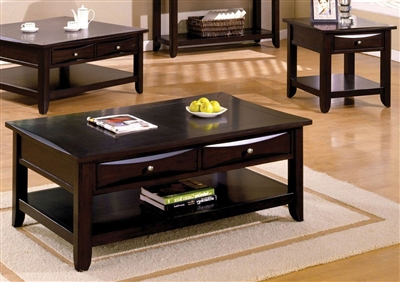 Baldwin 2 Piece Occasional Table Set in Espresso by Furniture of America - FOA-CM4265DK-2PK