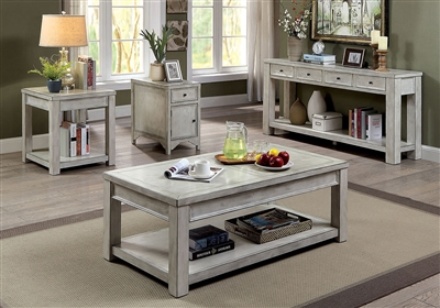 Meadow 2 Piece Occasional Table Set in Antique White by Furniture of America - FOA-CM4327WH-2PK
