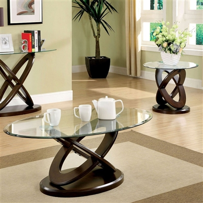 Atwood II 2 Piece Occasional Table Set in Dark Walnut by Furniture of America - FOA-CM4401-2PK