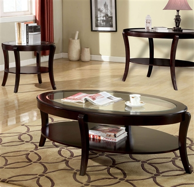 Finley 2 Piece Occasional Table Set in Espresso by Furniture of America - FOA-CM4488-2PK