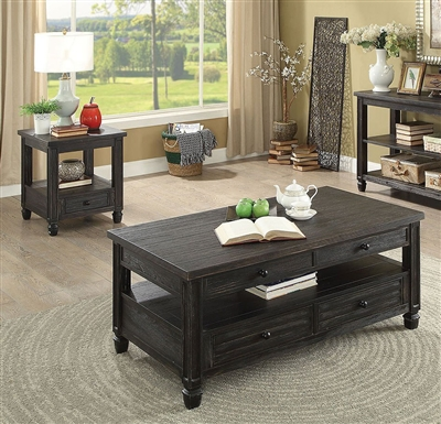 Suzette 2 Piece Occasional Table Set in Antique Black by Furniture of America - FOA-CM4615BK-2PK