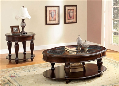 Centinel 2 Piece Occasional Table Set in Dark Cherry by Furniture of America - FOA-CM4642-2PK