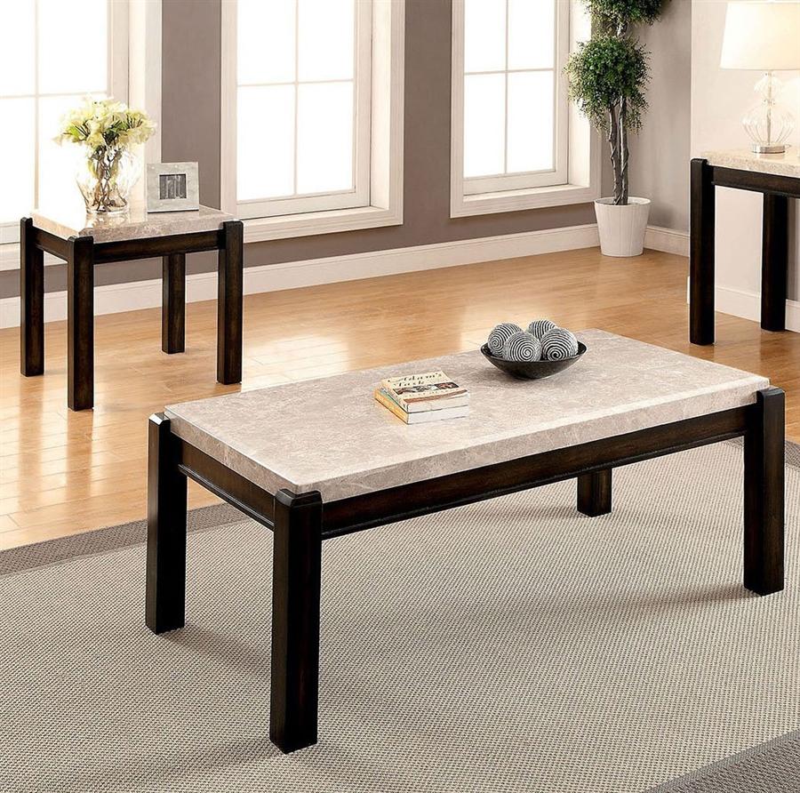 Gladstone 2 Piece Occasional Table Set In Dark Walnut Ivory By Furniture Of America Foa Cm4823 2pk [ 892 x 900 Pixel ]