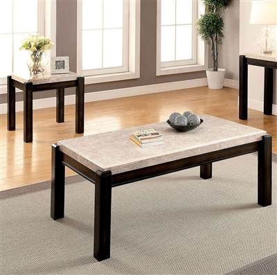Gladstone 2 Piece Occasional Table Set in Dark Walnut/Ivory by Furniture of America - FOA-CM4823-2PK
