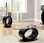 Lodia III 2 Piece Occasional Table Set in Black by Furniture of America - FOA-CM4825BK-2PK