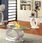 Lodia III 2 Piece Occasional Table Set in White by Furniture of America - FOA-CM4825WH-2PK
