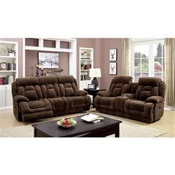 Grenville 2 Piece Sofa Set in Brown by Furniture of America - FOA-CM6010