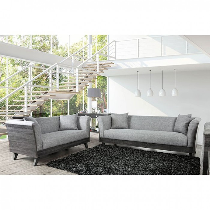 Cailin 2 Piece Sofa Set in Gray by Furniture of America - FOA-CM6085