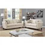 Campbell 2 Piece Sofa Set in Ivory by Furniture of America - FOA-CM6095IV