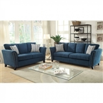 Campbell 2 Piece Sofa Set in Dark Teal by Furniture of America - FOA-CM6095TL