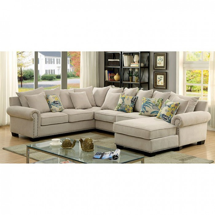 brand new 2d997 f87cb Skyler Sectional Sofa in Ivory by Furniture of America - FOA-CM6156