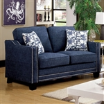 Kerian Love Seat in Chenille by Furniture of America - FOA-CM6157BL-LV