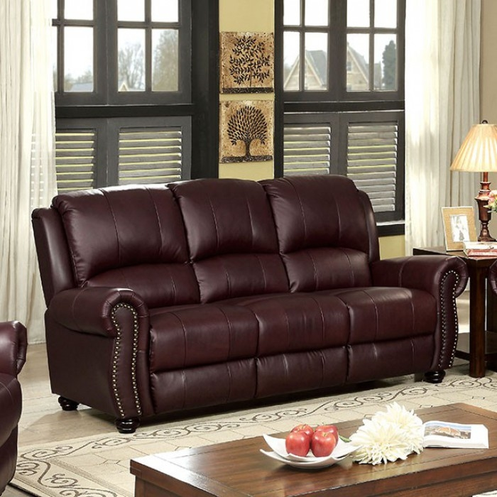 Turton 2 Piece Sofa Set in Burgundy by Furniture of America - FOA-CM6191BY