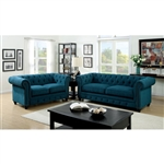Stanford 2 Piece Sofa Set in Dark Teal by Furniture of America - FOA-CM6269TL