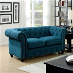 Stanford Love Seat in Dark Teal by Furniture of America - FOA-CM6269TL-LV
