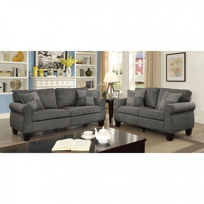 Rhian 2 Piece Sofa Set In Dark Gray By