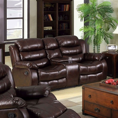 Berkshire Recliner Love Seat in Rustic Brown by Furniture of America - FOA-CM6551L-BT
