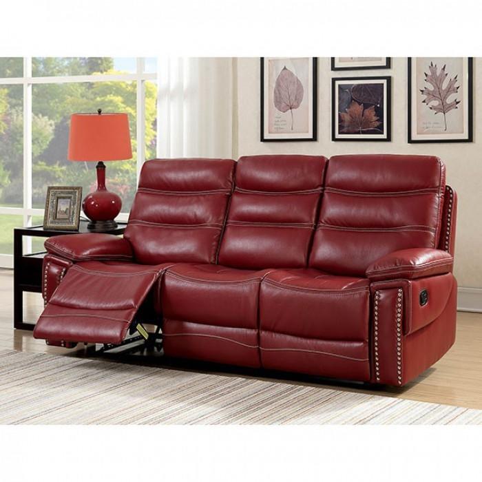Cavan Recliner Sofa in Red by Furniture of America - FOA-CM6560RD-SF
